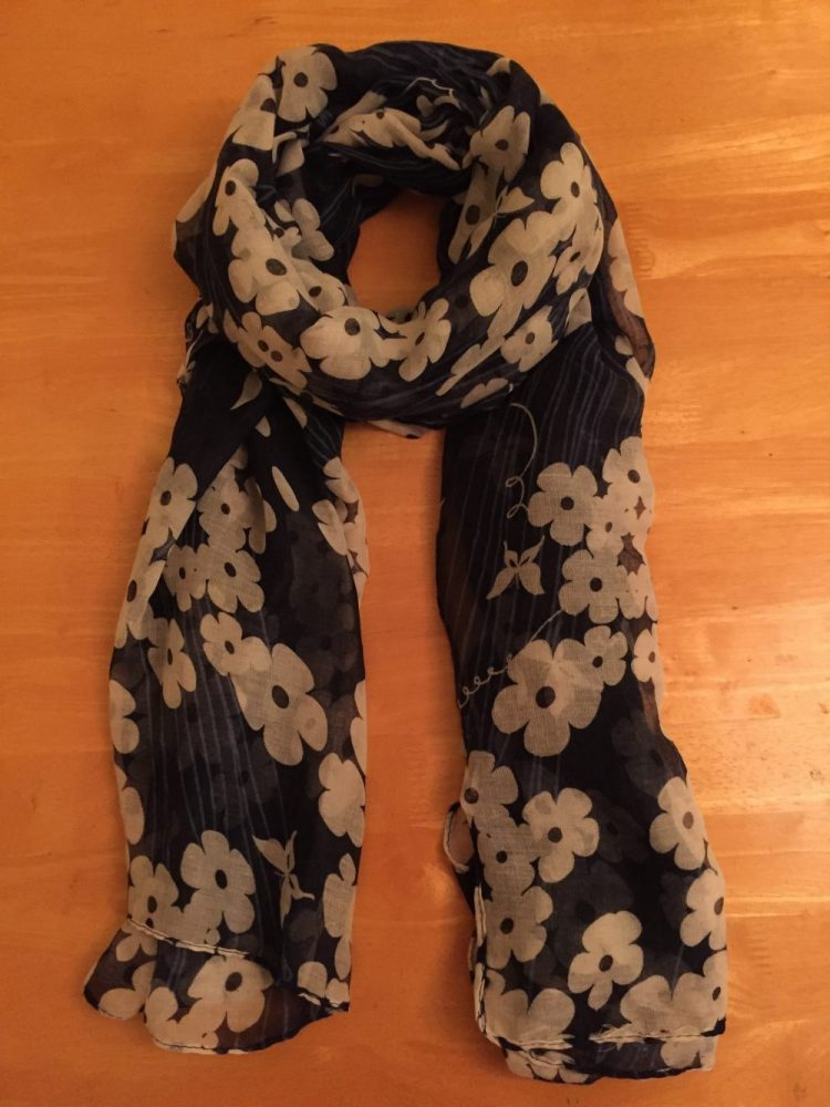 blue scarf with white flowers