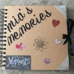 Memory Book decorated with 'Mia's Memories'