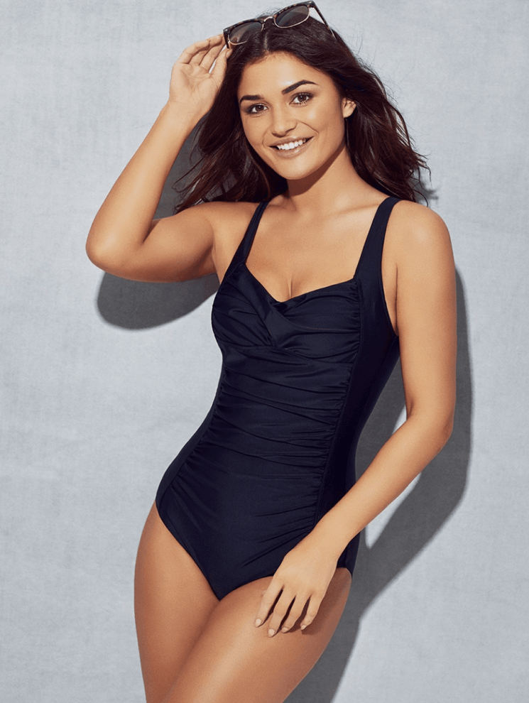 tummy control navy swimsuit