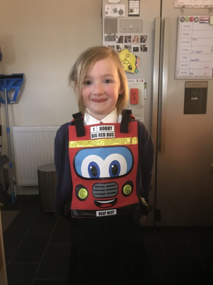 Mia wearing the Bobby Bus backpack