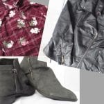 Shirt dress, biker jacket and grey slouch boots