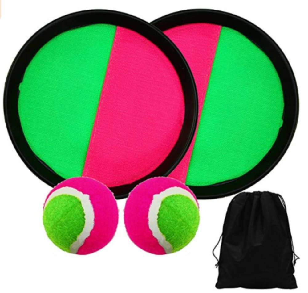 Green and Pink striped velcro pads and tennis balls