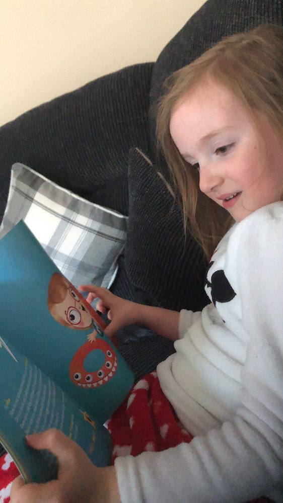 Mia reading The Big Splash