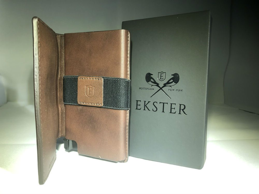Ekster Parliament brown leather wallet and black box