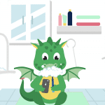 Little green dragon brushing his teeth