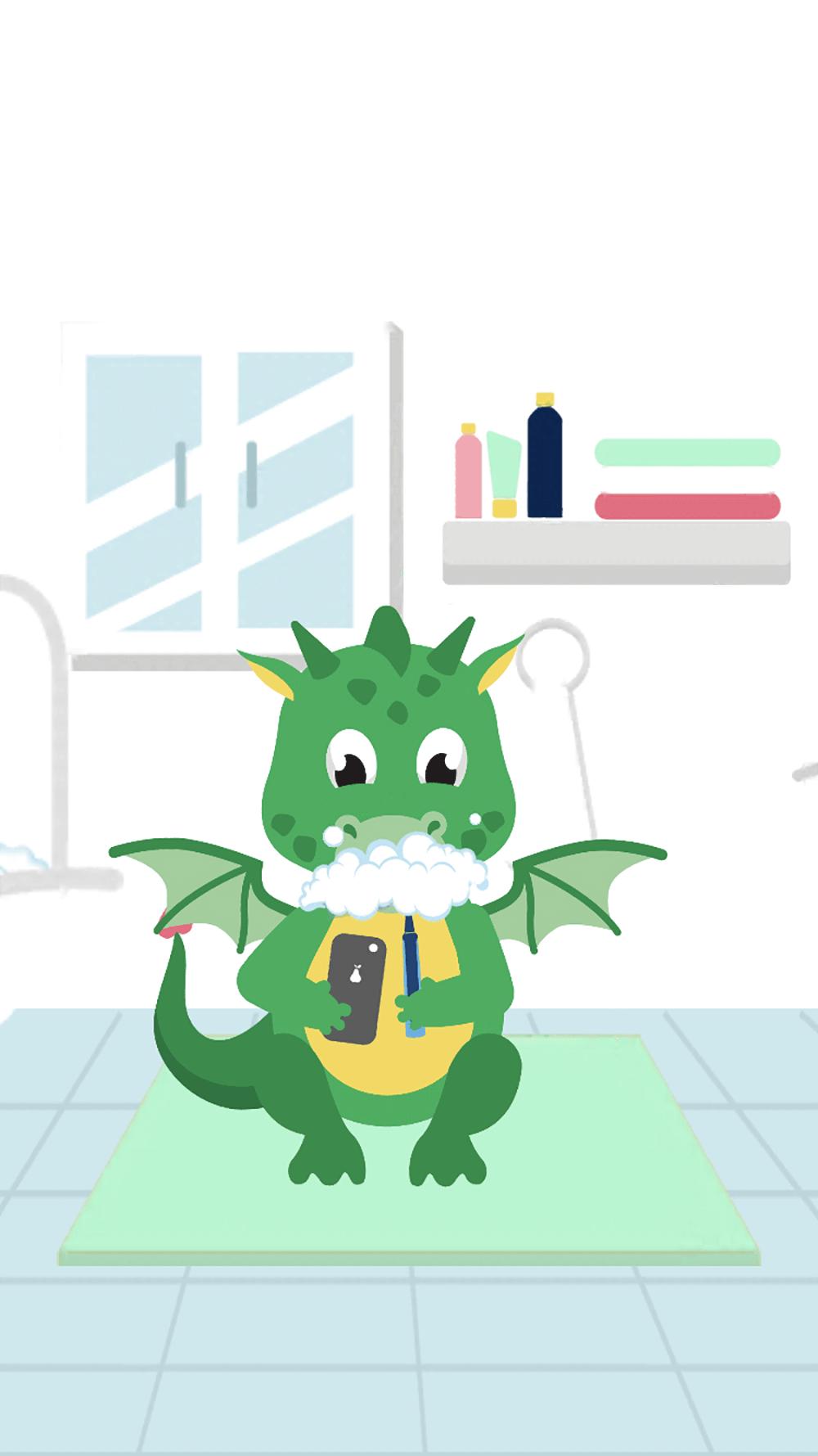 Little green dragon brushing his teeth