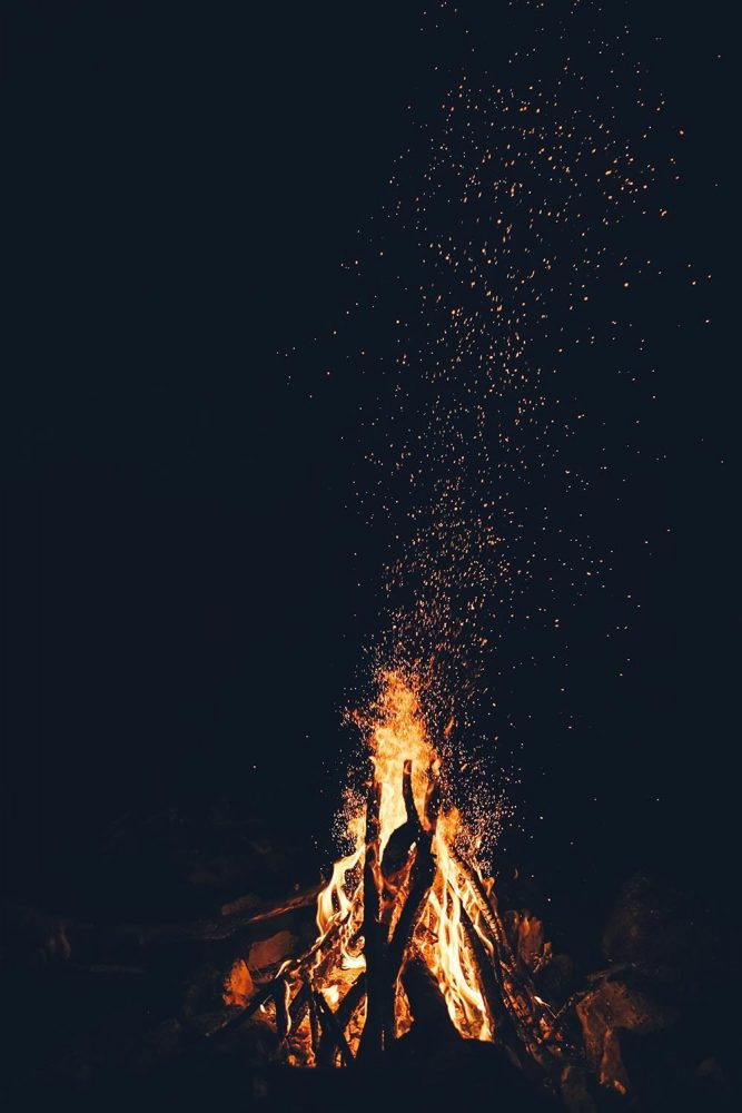 Bonfire burning in the night sky