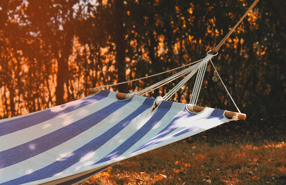 Blue and white stripy hammock
