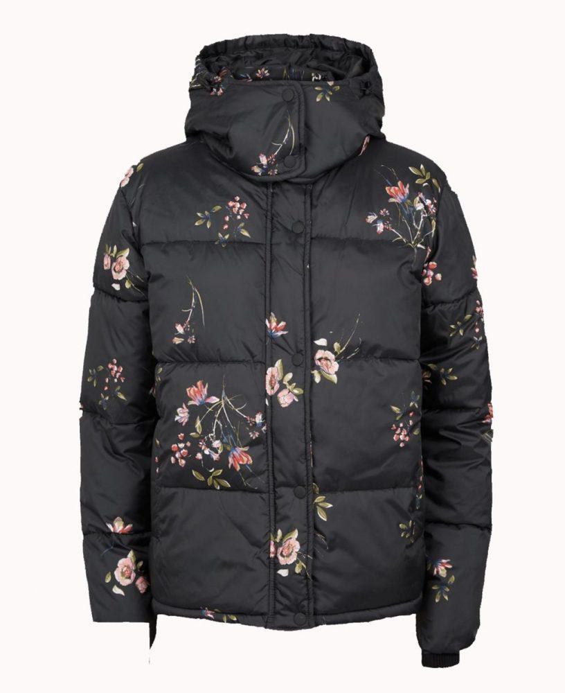 Floral black coat with hood