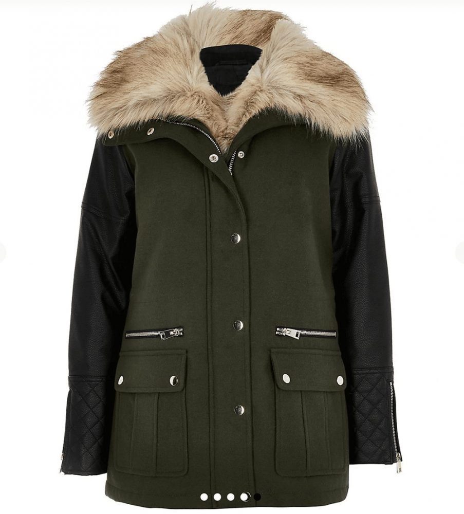 Green coat with fur collar and faux leather sleeves