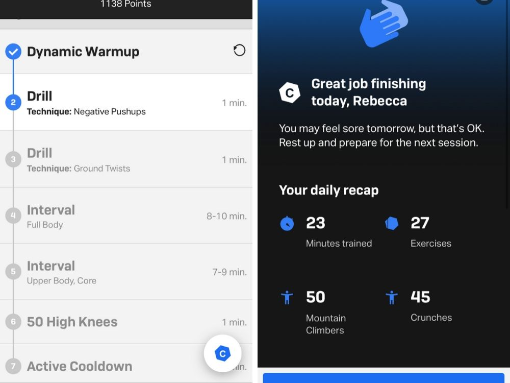 App workout dashboard