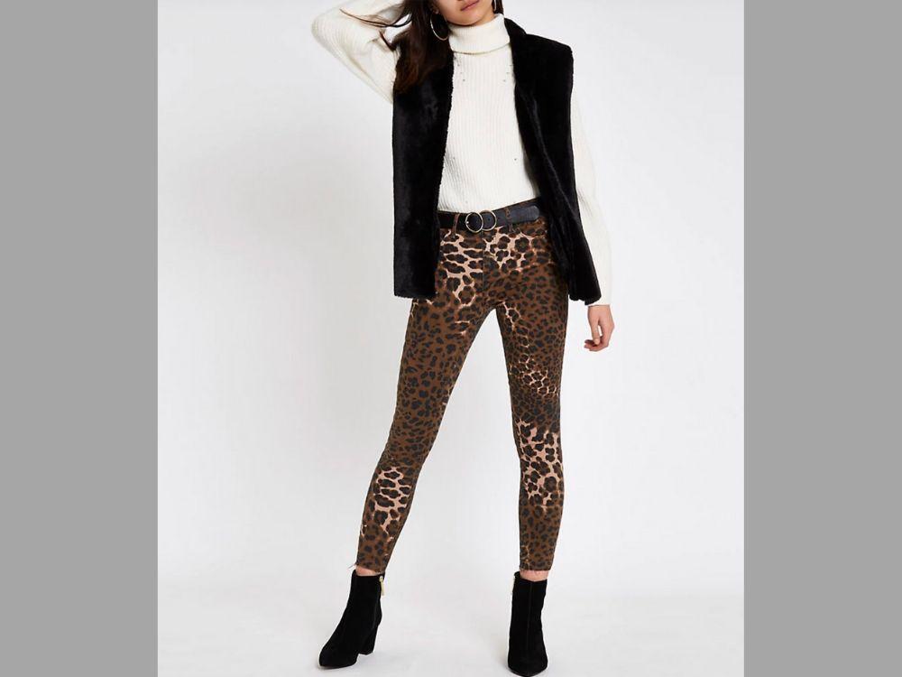 Black fur gilet and leopard print leggings