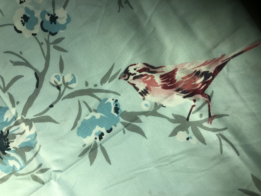Bird pattern on duck egg blue duvet set