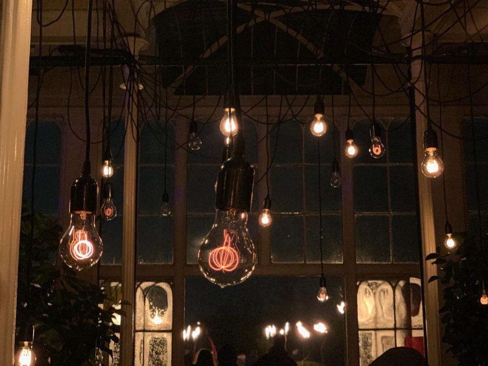 Hanging lit bulbs