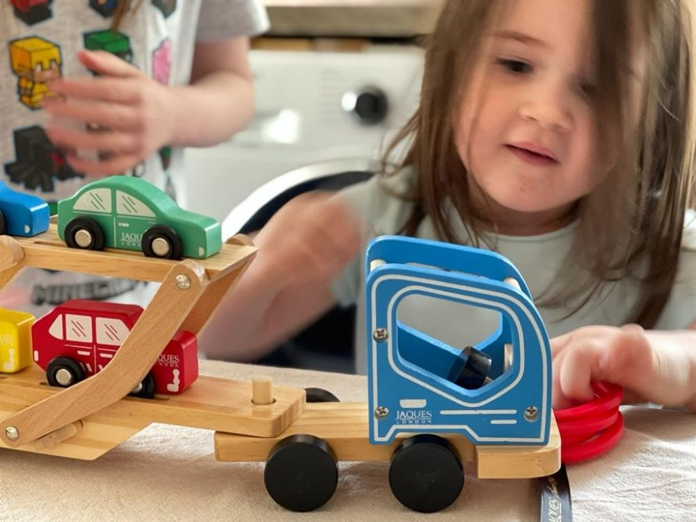 Blue toy car transporter