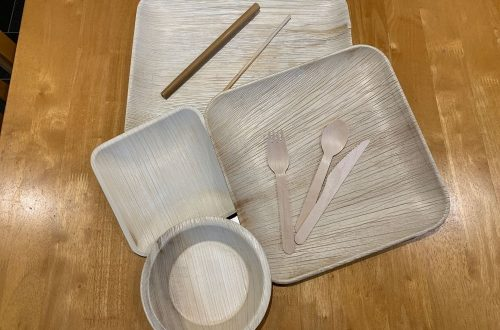Selection of palm leaf tableware
