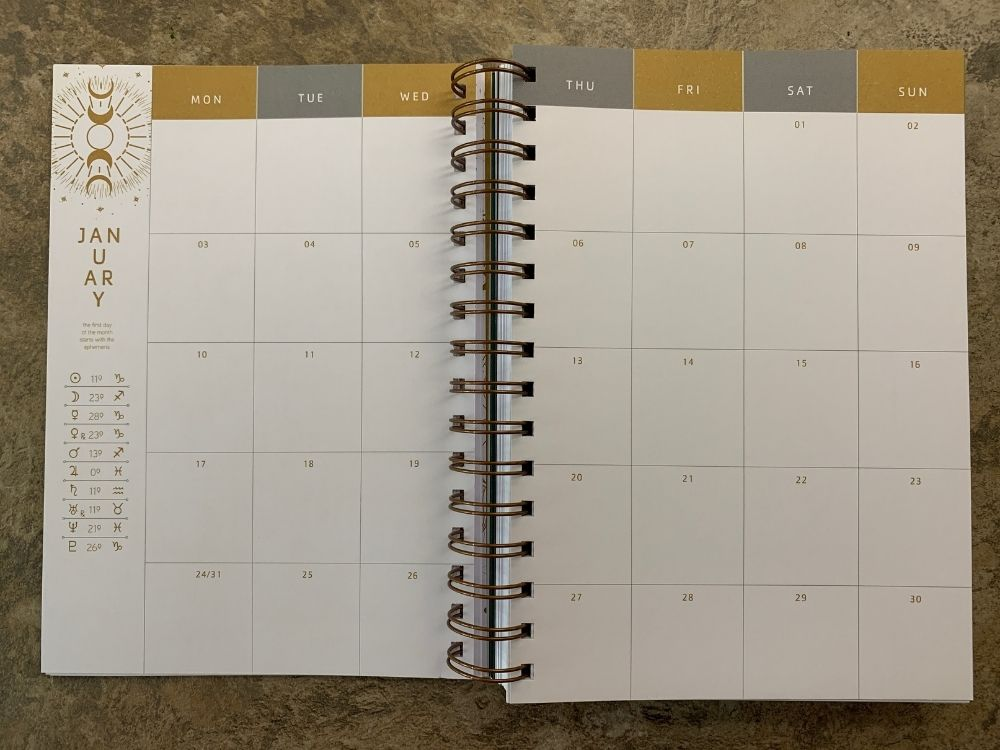 Monthly diary view