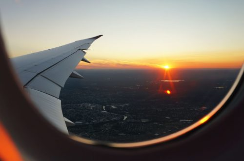 Sunset out of a plane window